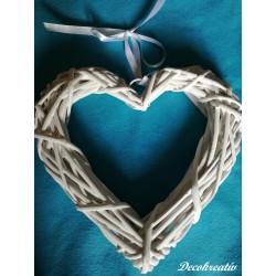 Prútený veniec srdce biela,...