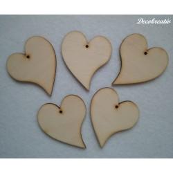 Drevený výrez srdce, 5 ks