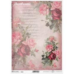 Ryžový papier A4 - Ruže a noty