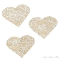 Textilné srdiečko, 5 cm, 6 ks