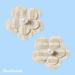 Textilné kvety, 34 mm, 6 ks