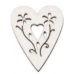 Drevený výrez srdce biele...