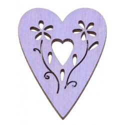 Drevený výrez srdce fialové...