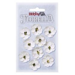 Papierové kvety 2,5 cm - biela