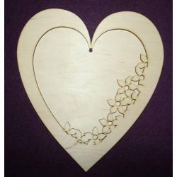 Drevený výrez dvojdielny srdce
